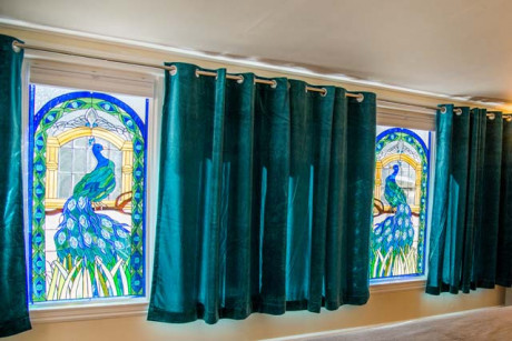 ADA Room - Peacock Stained Glass Window