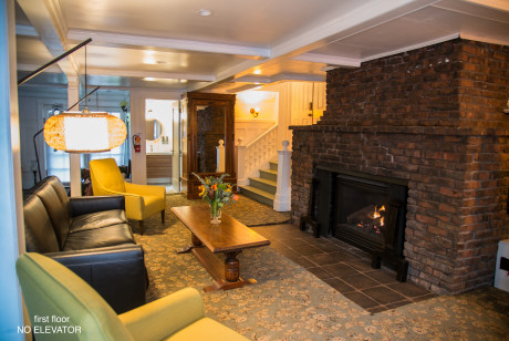 Living Space with original brick fireplace