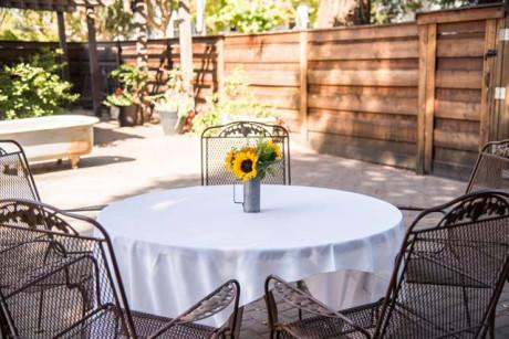 Cedar Gables Inn Exterior - Side Patio Dining